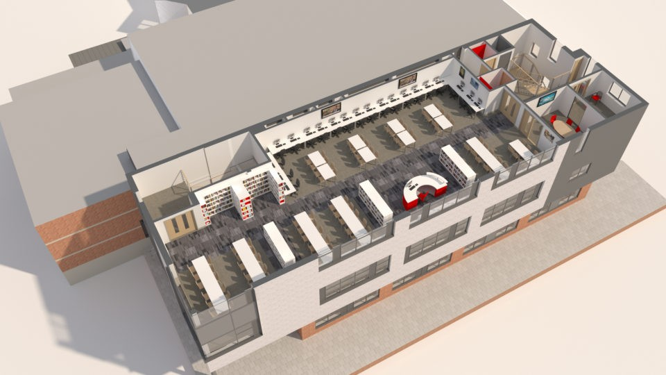 Education Secondary Pates Cheltenham Library 3d Plan