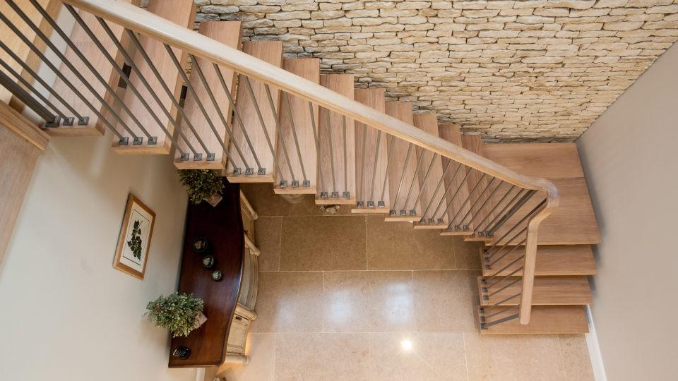 Bespoke wood open tread stairs