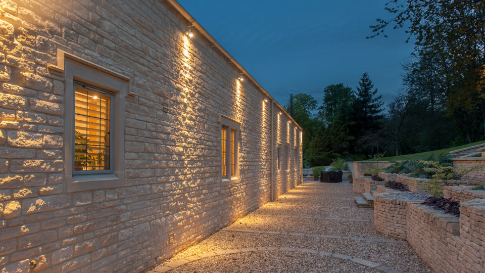 Exterior lighting showing warm glow from lighting