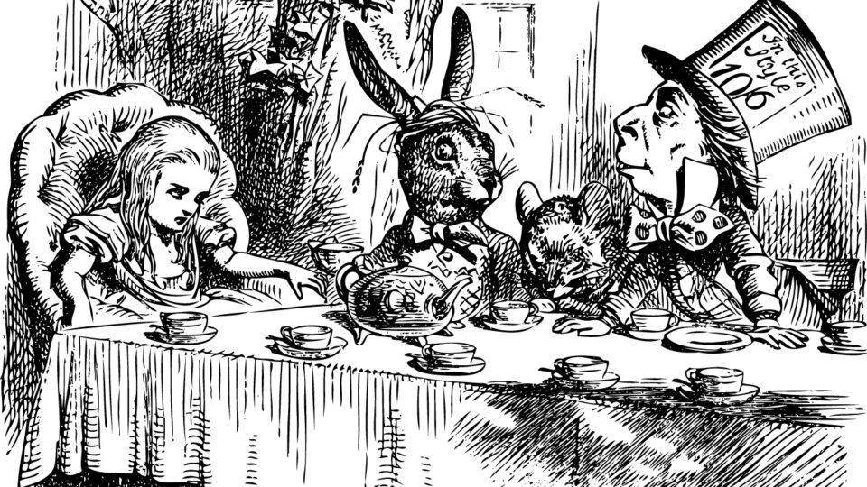 Mad Hatter's Tea Party, Alice in Wonderland original vintage