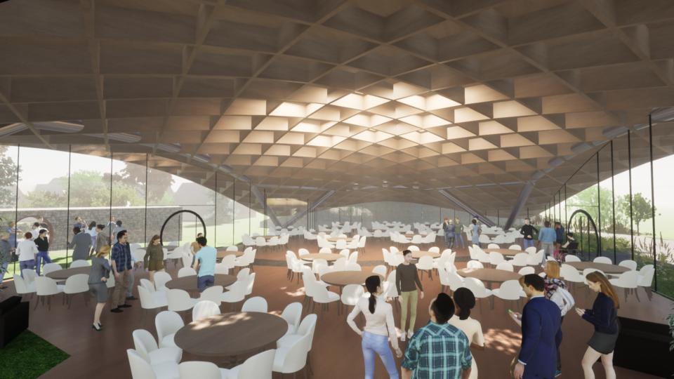 grid shell design facilitates shafts of light, Garden Restaurant