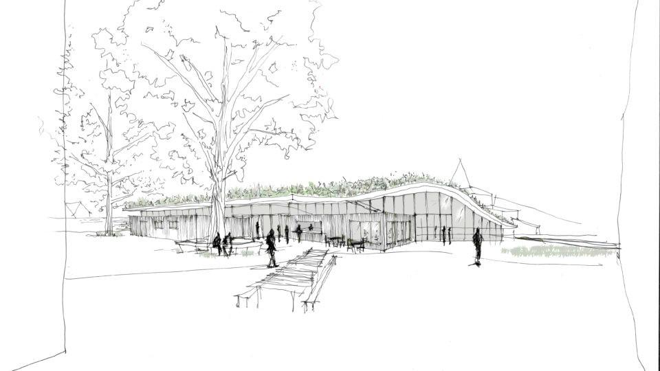 Garden Restaurant, exterior view, Illustration